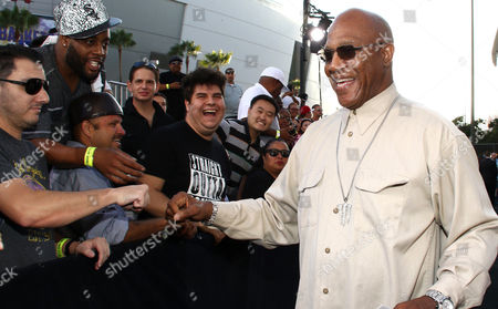 "Tommy 'Tiny' Lister greets fans as he arrives at the Los Angeles premiere of ""Straight Outta Compton"" at the Microsoft Theater on"