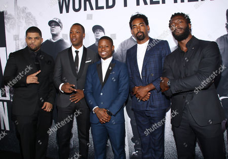 """O'Shea Jackson Jr., from left, Corey Hawkins, Jason Mitchell, Marlon Yates Jr. and Aldis Hodge arrive at the Los Angeles premiere of """"Straight Outta Compton"""" at the Microsoft Theater on"""