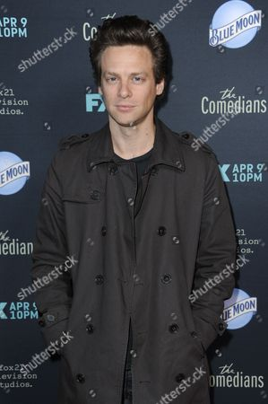 """Jacob Pitts arrives at the LA Premiere of FX's """"The Comedians"""", in Santa Monica, Calif"""