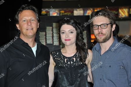 From left, Gary Binkow, Hannah Fierman and David Bruckner attend the LA premiere of V/H/S at Mann Chinese 6 Theatres, in Los Angeles