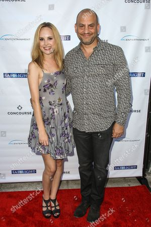 """Meaghan Martin, left, and Tony Aloupis attend a special screening of """"Safelight"""" at the Laemmle Music Hall on in Beverly Hills, Calif"""