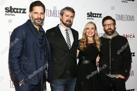 "Joe Manganiello, from left, Sean Mewshaw, Desi Van Til and Jason Sudeikis attend the LA Special Screening of ""Tumbledown"" held at Aero Theater, in Santa Monica, Calif"