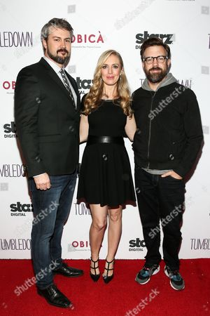 "Sean Mewshaw, from left, Desi Van Til and Jason Sudeikis attend the LA Special Screening of ""Tumbledown"" held at Aero Theater, in Santa Monica, Calif"