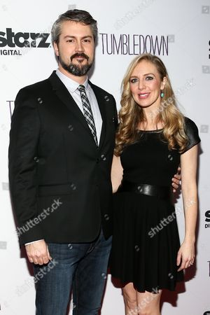 "Sean Mewshaw, left, and Desi Van Til attend the LA Special Screening of ""Tumbledown"" held at Aero Theater, in Santa Monica, Calif"
