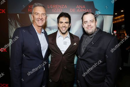 Steve Beeks, Co-Chief Operating Officer and President of Lionsgate's Motion Picture Group, Director/Writer/Producer Eli Roth and Jean McDowell, SVP of Marketing and Research, Lionsgate, seen at the Lionsgate Premiere presents the Los Angeles Special Screening of 'Knock Knock' at TCL Chinese 6 on in Los Angeles