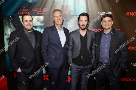 Jean McDowell, SVP of Marketing and Research, Lionsgate, Steve Beeks, Co-Chief Operating Officer and President of Lionsgate's Motion Picture Group, Keanu Reeves and Jason Constantine, President of Acquisitions and Co-Productions of Lionsgate Motion Picture Group, seen at Los Angeles Special Screening of Steve Beeks, Co-Chief Operating Officer - President, Motion Picture Group of Lionsgate, seen at the Lionsgate Premiere presents the Los Angeles Special Screening of 'Knock Knock' at TCL Chinese 6 on in Los Angeles