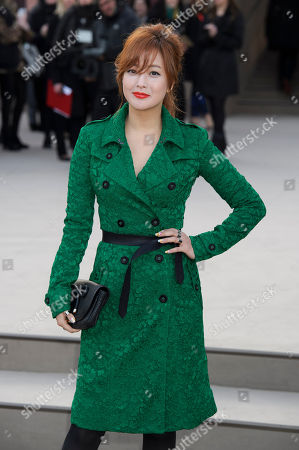 Kim Hee Sun arrives for the Burberry Prorsum fashion collection during London Fashion Week, at a central London Venue, London