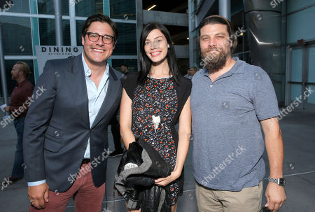 Rich Sommer, Jessica Pare and Jay Ferguson attend the premiere of 'Are You Here' at ArcLight Hollywood on in Hollywood, California