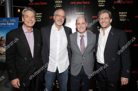 L-R) CEO Millennium Entertainment Bill Lee, filmmaker Jon Avnet, writer/director Matthew Weiner and producer Gary Gilbert attend the premiere of 'Are You Here' at ArcLight Hollywood on in Hollywood, California
