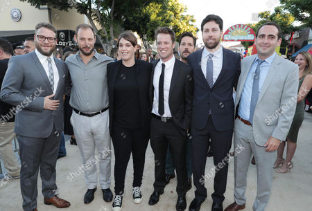 Seth Rogen, Writer/Producer Evan Goldberg, Producer Megan Ellison, Executive Producer/Writer Kyle Hunter, Paul Rudd, Executive Producer/Writer Ariel Shaffir and Executive Producer David Distenfeld seen at the Los Angeles Premiere of Columbia Pictures' SAUSAGE PARTY at the Regency Village Theater, in Los Angeles