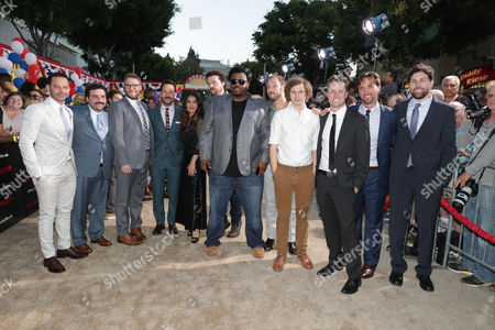 Nick Kroll, David Krumholtz, Seth Rogen, Paul Rudd, Salma Hayek, Danny McBride, Craig Robinson, Writer/Producer Evan Goldberg, Michael Cera, Executive Producer/Writer Kyle Hunter, Executive Producer James Weaver and Executive Producer/Writer Ariel Shaffir seen at the Los Angeles Premiere of Columbia Pictures' SAUSAGE PARTY at the Regency Village Theater, in Los Angeles