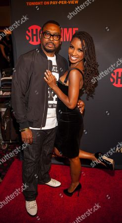 Daren Dukes and Shanola Hampton pose on the red carpet at the Mayweather VS. Pacquiao VIP Pre-Fight Party at MGM Grand, in Las Vegas