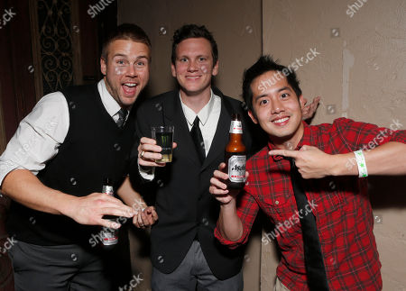 Aaron Hill, left, and Allen Evangelista, right, attend a surprise birthday party for MTV Teen Wolf's Stephen Lunsford presented by Monster Energy Drinks on in Los Angeles, CA