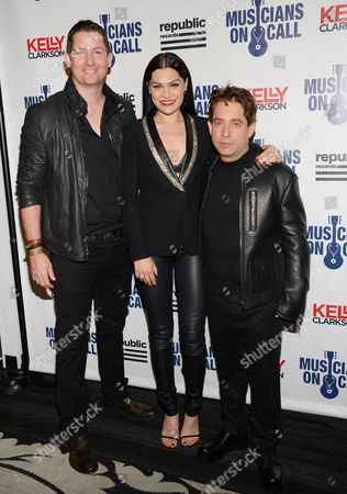 Stock Photo of Musicians On Call president Pete Griffin, left, poses with singer Jessie J and Republic Records executive vice president Charlie Walk at the Musicians On Call 15th Anniversary at Espace, in New York