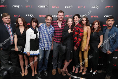 "Michael Chernus, Elizabeth Reaser, Kate Miccuci, Marc Maron, Director Joe Swanberg, Jane Adams, Jacqueline Toboni, Emily Ratajkowski, Aya Cash and Raul Castillo seen at Netflix cast and crew screening of new original series ""EASY"" at London West Hollywood, in West Hollywood, CA"
