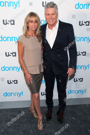 "Bonnie Hammer, left, and Donny Deutsch, right, attend the premiere of the USA Network scripted comedy series ""Donny!"" at The Rainbow Room, in New York"