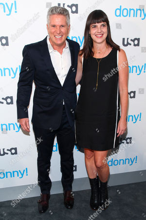 "Donny Deutsch, left, and Angie Day, right, attend the premiere of the USA Network scripted comedy series ""Donny!"" at The Rainbow Room, in New York"