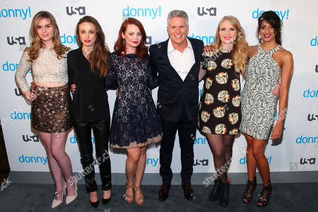 """Stock Picture of Fiona Robert, from left, Jessica Russell, Hailey Giles, Donny Deutsch, Emily Tarver and Meera Rohit Kumbhani attend the premiere of the USA Network scripted comedy series """"Donny!"""" at The Rainbow Room, in New York"""