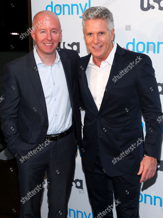 """Chris McCumber, left, and Donny Deutsch, right, attend the premiere of the USA Network scripted comedy series """"Donny!"""" at The Rainbow Room, in New York"""