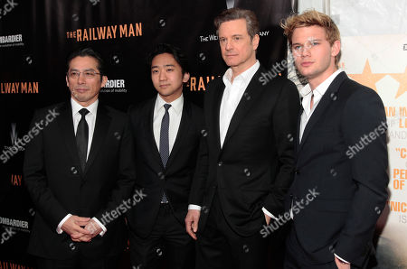 "From left, actors Hiroyuki Sanada, Tanroh Ishida, Colin Firth and Jeremy Irvine attend the New York premiere of ""The Railway Man"", in New York"
