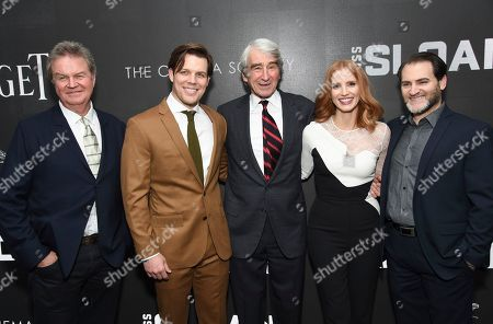 "Director John Madden, left, poses with actors Jake Lacy, Sam Waterston, Jessica Chastain and Michael Stuhlbarg at a special screening of ""Miss Sloane"", hosted by The Cinema Society and Piaget, at the SAG-AFTRA Foundation, in New York"