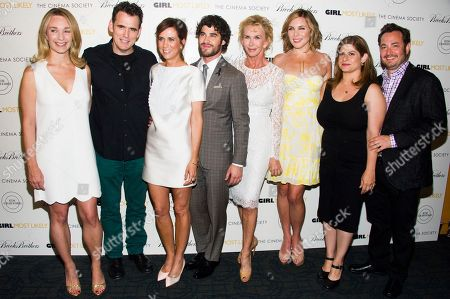 "Celine Rattray, from left, Matt Dillon, Kristen Wiig, Darren Criss, Trudie Styler, June Diane Raphael, Shari Springer Berman, and Robert Pulcini attend a screening of Lionsgate & Roadside Attractions' ""Girl Most Likely"" hosted by the Cinema Society & Brooks Brothers on in New York"