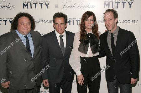 "From left, actors Adrian Martinez, Ben Stiller, Kristen Wiig and Joey Slotnick attend a screening of ""The Secret Life of Walter Mitty"" presented by 20th Century Fox with the Cinema Society & Brooks Brothers, in New York"