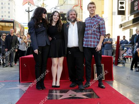 Fran Walsh, Katie Jackson, Peter Jackson and Billy Jackson seen at a ceremony honoring Peter Jackson with a star on The Hollywood Walk Of Fame, in Los Angeles, CA