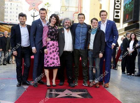 Andy Serkis, Richard Armitage, Evangeline Lilly, Peter Jackson, Orlando Bloom, Elijah Wood and Lee Pace seen at a ceremony honoring Peter Jackson with a star on The Hollywood Walk Of Fame, in Los Angeles, CA