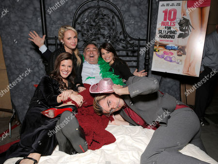 Jamie Renee Smith, Molly McCook, Writer/Director/Producer Leslie Greif, Lucila Sola and Reid Ewing attend the after party for the premiere of Screen Media Films' '10 Rules For Sleeping Around' at the Egyptian Theatre on in Hollywood, California
