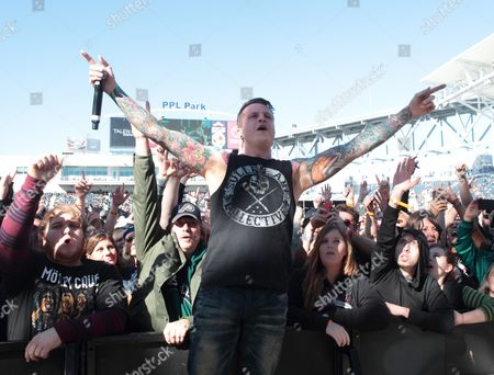 Alex Varkatzas of the band Atreyu performs in concert during the Rock Allegiance Festival at PPL Park, in Chester, Pa