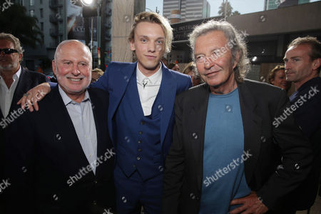 Executive Producer Michael Lynne, Jamie Campbell Bower and Executive Producer Bob Shaye seen at Screen Gems 'The Mortal Instruments: City of Bones' Los Angeles Premiere, on Monday, August, 12, 2013 in Los Angeles