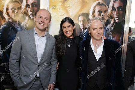 Producer Robert Kulzer, Screenplay writer Jessica Postigo Paquette and Director Harald Zwart seen at Screen Gems 'The Mortal Instruments: City of Bones' Los Angeles Premiere, on Monday, August, 12, 2013 in Los Angeles