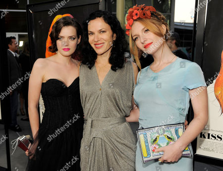 "Xan Cassavetes, center, writer/director of ""Kiss of the Damned,"" poses with cast members Roxane Mesquide, left, and Josephine de La Baume at the Los Angeles screening of the film at the ArcLight Hollywood on in Los Angeles"