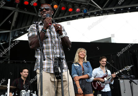 Green Bay Packer all-time leading receiver, Super Bowl Champion and Dancing with the Stars Champion Donald Driver takes the U.S. Cellular stage during Summerfest to introduce Hey Ocean! in Milwaukee, Wis