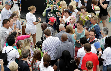 Green Bay Packer all-time leading receiver, Super Bowl Champion and Dancing with the Stars Champion Donald Driver hangs out with fans during Summerfest, on behalf of U.S. Cellular in Milwaukee, Wis