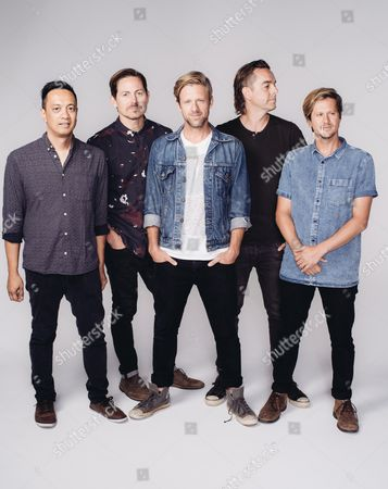 Jerome Fontamillas, from left, Chad Butler, Jon Foreman, Drew Shirley and Tim Foreman of Switchfoot pose for a portrait in Los Angeles