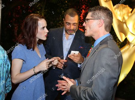 From left, Rachel Brosnahan, Anthony Mendez, and Television Academy Governor Bob Bergen attend the Television Academy's 67th Emmy Performance Peer Group Celebration at the Montage Beverly Hills on in Beverly Hills, Calif