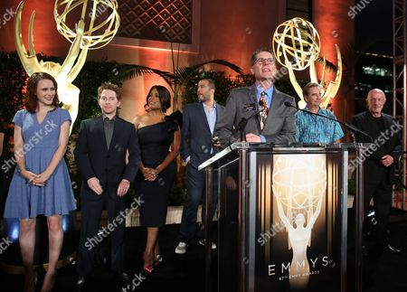 From left, Rachel Brosnahan, Seth Green, Niecy Nash, Anthony Mendez, Television Acadmey Governor Bob Bergen, Beau Bridges, and Jonathan Banks attend the Television Academy's 67th Emmy Performance Peer Group Celebration at the Montage Beverly Hills on in Beverly Hills, Calif