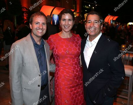 From left, Television Academy President and COO Maury McIntyre, Television Academy CFO and Executive Vice President of Operations Heather Cochran, and Television Academy Chairman and CEO Bruce Rosenblum attend the Television Academy's 67th Emmy Performance Peer Group Celebration at the Montage Beverly Hills on in Beverly Hills, Calif