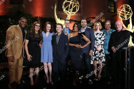 From left, Anthony Anderson, Mayim Bialik, Rachel Brosnahan, Seth Green, Television Academy Governor Bob Bergen, Niecy Nash, Anthony Mendez, Sarah Paulson, Beau Bridges, Jonathan Banks attend the Television Academy's 67th Emmy Performance Peer Group Celebration at the Montage Beverly Hills on in Beverly Hills, Calif