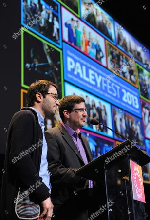 Photo of Edward Kitsis, left, and Adam Horowitz courtesy of Samsung Galaxy, taken during the Paley Center for Media's PaleyFest, honoring Once Upon a Time, at the Saban Theatre, in Los Angeles, California