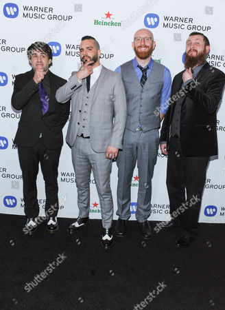 Mike D'Antonio, Jesse Leach, Justin Foley and Joel Stroetzel of Killswitch Engaged arriving to the 56th Annual GRAMMY Awards Warner Music Group After After Party on Sunday January 26,2104 in West Hollywood, Calif