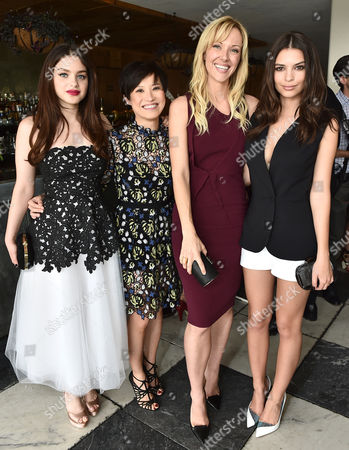 Odeya Rush, from left, Sandra Choi, Creative Director, Jimmy Choo, Tara Swennen and Emily Ratajkowski attend The Hollywood Reporter & Jimmy Choo Celebration of the Most Powerful Stylists in Hollywood, in West Hollywood, Calif