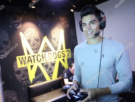 Stock Image of Siva Kaneswaran playing Watch Dogs 2 at Ubisoft E3 2016 - Day 3 at the Los Angeles Convention Center, in Los Angeles