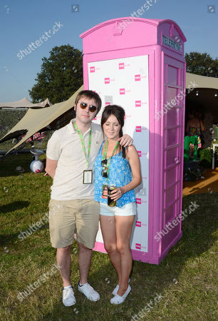James Buckley, Clair Meek poses at the Very.co.uk Fashionable Tent in the Virgin Louder Lounge at the V Festival on in Chelmsford, Essex