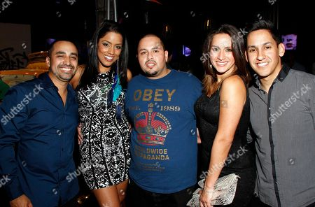 L-R) Vic Manzano, Melissa Marty, guest, Marcela Pizarro and DJ J Rhythm attend Vida Lexus and Alegria Magazine Present Sabor De Lujo on at Lure nightclub in Hollywood, Calif