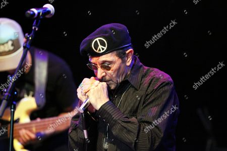 Stock Picture of Lee Oskar of War performing at Chastain Park Amphitheatre, in Atlanta