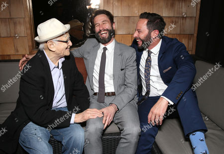 """Norman Lear, TWC RADiUS Co-President Jason Janego and Nick Kroll attend the party for """"Adult Beginners"""" LA Premiere, In Partnership with Wood & Vine at Wood & Vine on in Los Angeles"""