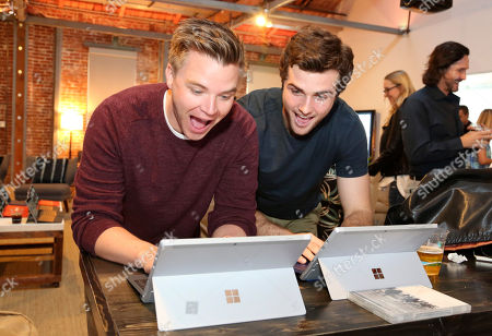 "Brett Davern, left, and Beau Mirchoff attend the ""Awkward"" live tweet event at The Microsoft Lounge, in Venice, Calif"